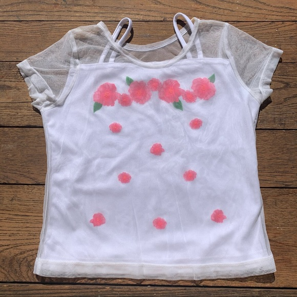 Vintage 80s Floral Painted Mesh Overlay T-shirt